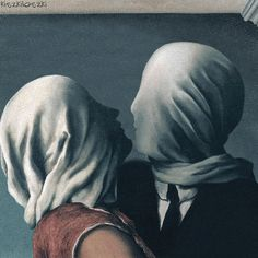 "The Lovers by Rene Magritte. You can see this one and 8 more of my animations at DADA, tak? I'm currently working on some new ""painting gifs"". Classic Paintings, Classic Art, Funny Paintings, Rene Magritte, Animation, Painting Videos, Art, Art Pictures, Cool Gifs"