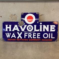 1930's Havoline Wax Free oil Porcelain Sign / Heavy Porcelain Finish – UrbanAmericana