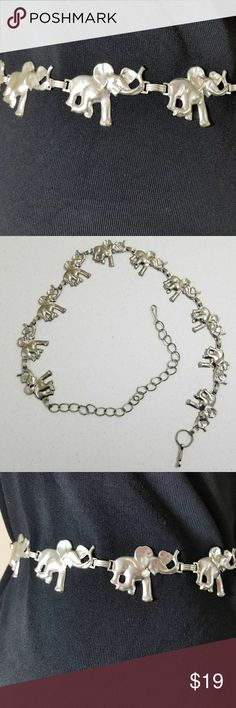 "Elephant Silver Tone Metal Belt Adjustable Elephant Silver Tone Metal Belt   Adjustable  29-42""  Linked Metal Belt none Accessories Belts"