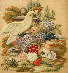 A Beautiful Victorian Panel ~ Techniques Used Include WoolWork, BeadWork & PlushWork Late Summer Flowers, Victorian Pattern, Work Images, Flower Frame, Embroidery Art, Cross Stitching, Needlepoint, Needlework, Plush