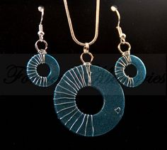 Blue Wire-wrapped with Tiny Heart Washer Necklace Earring Jewelry Set #handmade by #foreversmemories