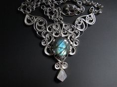 Argentium Silver Necklace with Labradorite and Rainbow Moonstone - Jewelry Making Daily