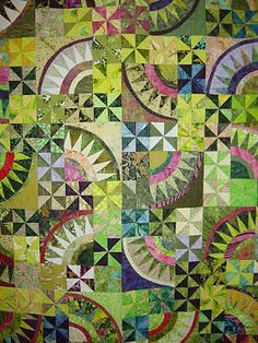 Pickled by Ann Slater  New York Beauties and Pinwheel quilt.