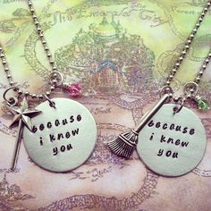 These necklaces are handcrafted using a 2.5mm aluminium disc, stamped with the quote Because I Knew You. They are completed with Tibetan