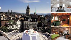 Zurich's Widder Hotel, built on the site of Roman and Celtic ruins, comprises nine individually styled medieval houses. Medieval Houses, Luxury Rooms, Places Ive Been, Celtic, Roman, Hotels, Bucket, Mansions, House Styles