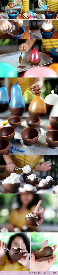 b for bel: food ... making chocolate cups with balloons
