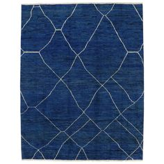Contemporary Blue Moroccan Style Area Rug with Abstract Design