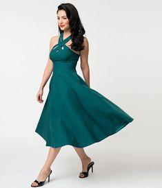 7d4f80c9ac62 Voodoo Vixen Teal Cross Weave Halter Ava Swing Dress. Voodoo VixenUnique  Dresses1950s FashionSwing DressUnique VintageStretch ...