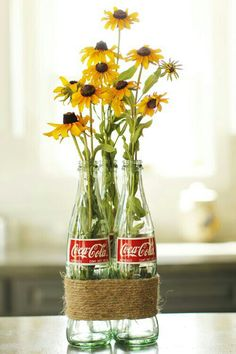 DIY 3 empty green glass coke bottles Father's day Graduation Fiesta wedding craft supply: Coca Cola tall bottle photo prop craft supply fake flowers work just as well Coca Cola Glass Bottles, Pop Bottles, Bottle Vase, Wine Bottles, Empty Glass Bottles, Diy Bottle, Coke Bottle Crafts, Garrafa Coca Cola, Apartment Decorating Themes