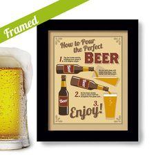 Beer Gift Art Bar Art Pub Decor Kitchen Art Framed Sign by DexMex, $35.00