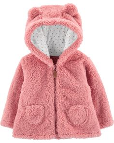 Carter's Baby Girl Zip-Up Sherpa Cardigan Hooded Cardigan, Hooded Jacket, Baby Girls, Carters Baby Girl, Baby Outfits, Children Outfits, Children Toys, Baby Girl Outfits, Toddler Girls