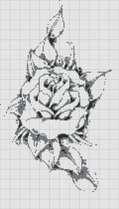 Cross-stitch Rose ... no color chart available, just use pattern chart as your color guide.. or choose your own colors//