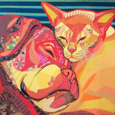 """""""Dream Team"""" paper collage by Laura Yager. 30""""x30"""" deep cradled panel. Cat & dog friends, animal artwork"""