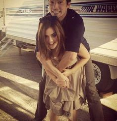 Lucy Hale as Aria and Ian Harding as Mr. Ezra Fitz on the set of Pretty Little Liars. #PLL I love them
