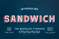 Sandwich • -50% • Bevelled 3D Type by Vintage Voyage Design Co. on @creativemarket