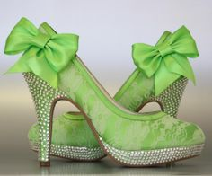 Wedding Shoes -- Spring Green Platform Shoes With Lace Overlay, Silver Swarovski Crystals on Heel and Platform and Matching Spring Green Bow