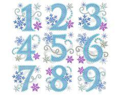 Números Ice Princess Birthday Set Congelado Applique del diseño del bordado HB033