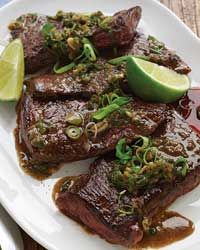 Pan-Seared Skirt Steak with Anchovies and Lime  - Steak from Food & Wine...Puerto Rico really knows how to marinade their meats.  It's true...Lime Juice, grapes, and oranges....make the meats tender.