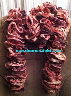 Patons Pirouette Crochet Ruffle Scarf *Free Pattern* By DearestDebi Ruffle Yarn, Crochet Ruffle Scarf, Crochet Scarves, Crochet Yarn, Crotchet, Crocheted Hats, Crochet Afghans, Crochet Granny, Crochet Crafts