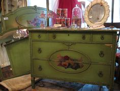 What a set! Antique dresser and bed with incredible detailing! From Sisters Garden and Bloom.
