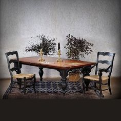 Country French Distressed Two Toned Dining Table Chairs | eBay