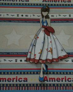 Beginning of a Patriotic julie nutting scrapbook page