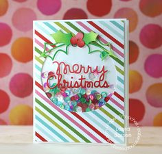Paper Smooches-Merry Christmas & Holly dies card by Laura Bassen.