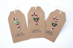 Quilled christmas candy cane gift tags