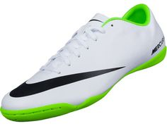 Nike Mercurial Victory IV Indoor Soccer Shoes - White & Electric Green...Available at SoccerPro Now!