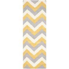Safavieh Cambridge Cherette Hand Tufted Wool Runner Rug, Grey/Gold