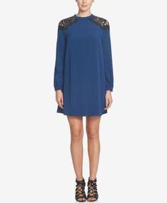 CeCe Jasmin Lace-Shoulder Bow-Back Shift Dress