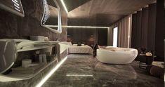Einmaliges Badezimmer Designer Badezimmer mit indirekter Led Beleuchtung, zwei moderne Spiegel mit LED Lampen, Decke mit Holzverkleidung, Frau in der Badewanne