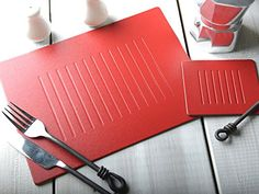 Set of 6 RED EMBOSSED Leatherboard PLACEMATS & 6 COASTERS -- Find out more about the great product at the image link.