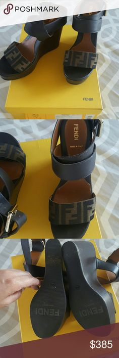 """Authentic Fendi wedges Adorable Fendi wedges.  only worn twice. they are absolutely in very good condition, I always keep my shoes in boxes to maintain well. these are leather strappy. 5"""" inch heel 2"""" inches platform.  comes with box and dust back. Fendi Shoes Wedges"""