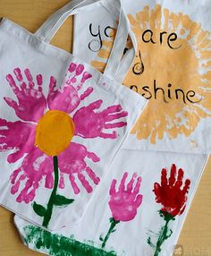 Handprint Tote Bags for Mother's Day Gifts