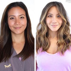Here's what 19 women look like before and after having balayage highlights - What is balayage? Well here's 17 of the prettiest examples of balayage highlights by expert colourist, Johnny Ramirez, that showcase the very best of the hair trend. Asian Hair Highlights, Balayage Asian Hair, Dark Brown Hair With Blonde Highlights, Golden Brown Hair Color, Hair Color Asian, Balayage Highlights, Brown Hair Colors, Brunette Highlights Summer, Blonde Asian Hair