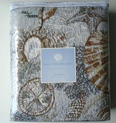New Resort Sea Life Shells Queen Quilt Starfishes Sand Dollar Full Bedspread | eBay