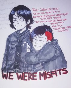"Not The Emo Trinity - the lyrics are from Shinedown's song ""Misfits"", but I adore the song so its here Mcr Memes, Band Memes, Mcr Quotes, Gerard And Frank, Gerard Way, Emo Bands, Music Bands, Spawn, Emo Art"