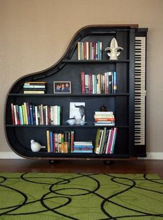 You'll never want a regular book shelf again after you see this #music inspired shelf!