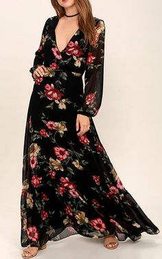 Chateau De Versailles Black Floral Print Maxi Dress via @bestmaxidress