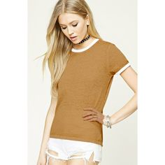 Forever21 Slub Knit Ringer Tee ($9.90) ❤ liked on Polyvore featuring tops, t-shirts, knit tee, brown tee, brown top, sleeve t shirt and knit t shirt