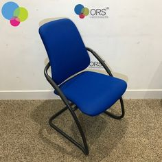 Blue Cantilever Meeting Chair Net Price: Blue Upholstered Seat and Back Black Cantilever Frame Black Arm Rests With Arm Pads Curved Back Buy Used Furniture, Office Furniture, Used Chairs, Folding Chair, Recycling, Arm, Blue, Stuff To Buy, Home Decor
