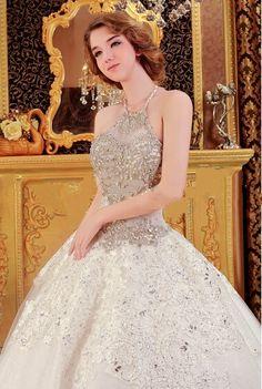 Cheap Ball Gown Long Train Crystal Beaded Puffly Floor Length Custom Make Long Formal Bridal Robe De Mariee Luxury Wedding Dress Free Measurement