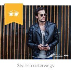 Stylisch unterwegs Leather Jacket, Jackets, Fashion, Studded Leather Jacket, Down Jackets, Moda, Leather Jackets, Fashion Styles, Fashion Illustrations