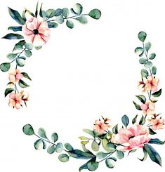 Wreath frame pink flowers and eucalyptus branches Premium Vector Motif Floral, Floral Border, Wreath Drawing, Forever Flowers, Flower Names, Frame Wreath, Watercolor Flowers, Flower Designs, Flower Crowns