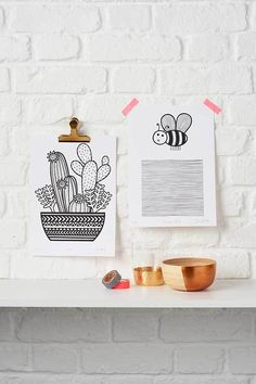 Cactus print & bee print by Jane Foster.