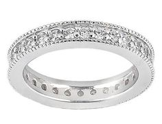 1.00 ct TW Ladies Prong Set Round Cut Diamond Eternity Wedding Band Ring in 18 kt White Gold in Size 8