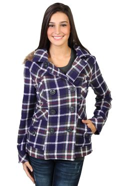 double breasted plaid wool coat features inset waist and fur trim hood