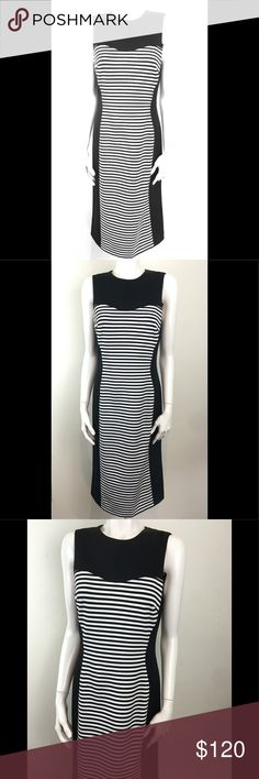 """Michael Kors Black White Sheath Lined Midi Dress Michael Kors Women's Black White Striped Sleeveless Sheath Lined Midi Dress - Classic & Timeless  Midi Length: half way between the knee and ankle  Size 8, Made in Italy  Would look great with any color solid shoe from red to yellow and accessorize with like colors  Back Zip  Armpit to Armpit - 17""""  Waist - 30"""" (15"""" measured flat across)  Length - 43""""   Split - 9 1/2""""  Shows minimal signs of wear  Thanks for looking and don't forget to check…"""