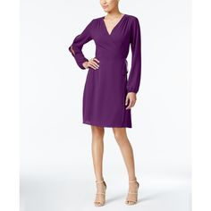 Monteau Petite Split-Sleeve Faux-Wrap Dress ($56) ❤ liked on Polyvore featuring dresses, magenta, petite dresses, faux-leather dress, monteau dress, sleeved dresses and white dress